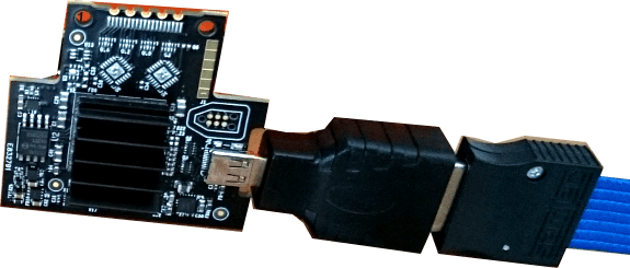 Micro-HDMI connector on a target FPGA board