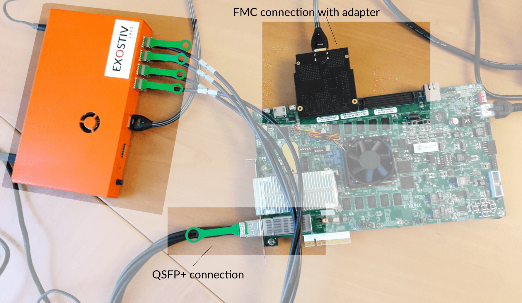 EXOSTIV connected to Xilinx VCU108 board on QSFP+ or FMC HPC connector