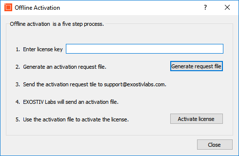 Offline activation dialog